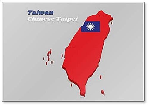 3D-Karten-Kühlschrankmagnet Chinesische Taipeh mit Taiwan-Flagge