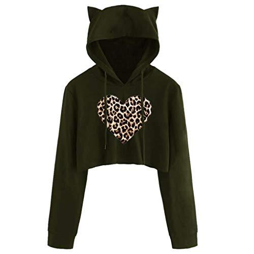 Sudadera con capucha para mujer y adolescente con orejas de gato, estampado de leopardo, estampado gráfico de corazón, con cordón, manga larga