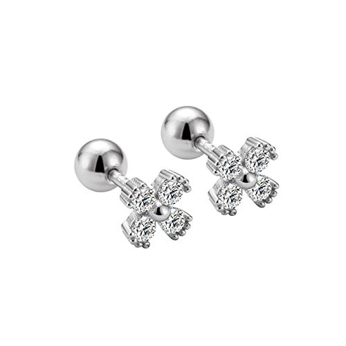 Flor De Cuatro Hojas Diamante S925 ST925 Nail Nail Simple Pendientes Pequeños Frescos (Color : Silver, Size : A Pair)