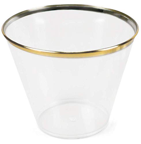 Set of 50 Gold Rimmed Disposable Cups - Elegant Plastic Cups Gold Rim - Fancy Gold Plastic Party Cups for Weddings - Disposable Wine Glasses - Plastic Cocktail Glasses - Bridal Shower Cups Gold Party