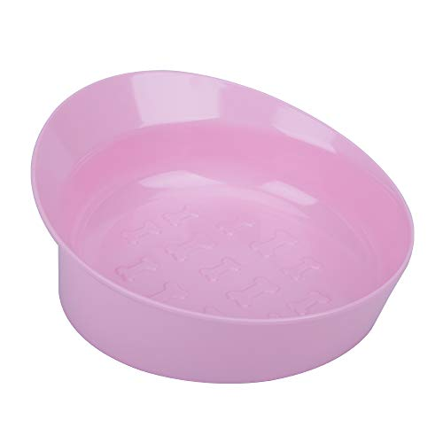 CATPRO Spill-Proof Slanted Bowl for Dogs and Cats, Non-Slip Tilted Dog Feeder, Ergonomic Cat Food Dish, Shallow Wide Food Bowl Eat with Ease for French Bulldog, Pug, Bagh, Garfield, Light Pink M