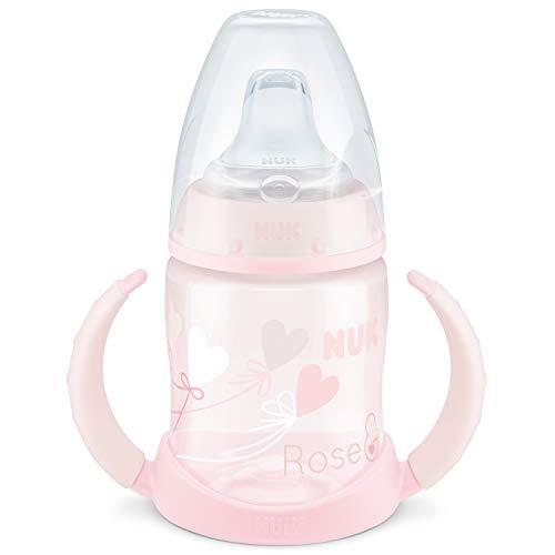 NUK Baby Rose First Choice Trinklernflasche, auslaufsicher, 150 ml, 6-18 Monate, 1 Stück, rosa