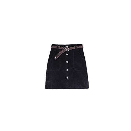 Nieuwe Corduroy voor Hoge Taille Vrouwen Zoete Zwarte Kaki Roze Mini Rokken met Knopen Pocket