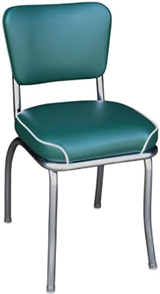 Richardson Seating Retro Chrome Kitchen Chair With 2 Waterfall Seat Green