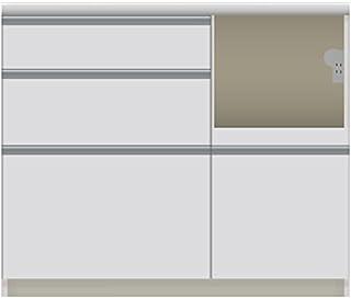 パモウナ 食器棚VI パールホワイト 幅100×高さ85×奥行45 日本製 VIR-S1000R下台