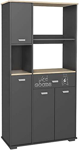 Abitti Buffet Placard haut de cuisine avec 4 portes 1 tiroir et Gris graphite180cm.