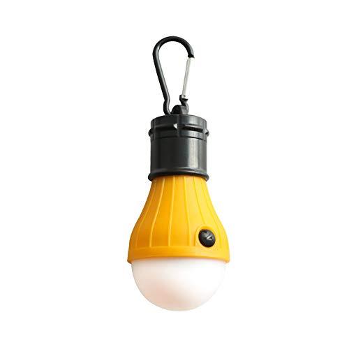 Bolange Luces LED de camping, luces de tienda con mosquetón, impermeable, portátil, funciona con pilas, con 3 modos de iluminación, apto para camping, senderismo, pesca, cortes de energía