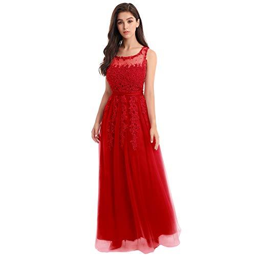OBEEII Vestido de Fiesta Mujer Sin Mangas con Apliques Encaje Vestido Largo de Verano Elegante Ropa de Dama para Noche Ceremonia Boda Novia Gala Prom Rojo EU 56