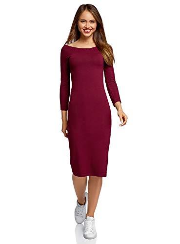 oodji Ultra Damen Enges Kleid mit U-Boot-Ausschnitt, Rot, DE 34 / EU 36 / XS