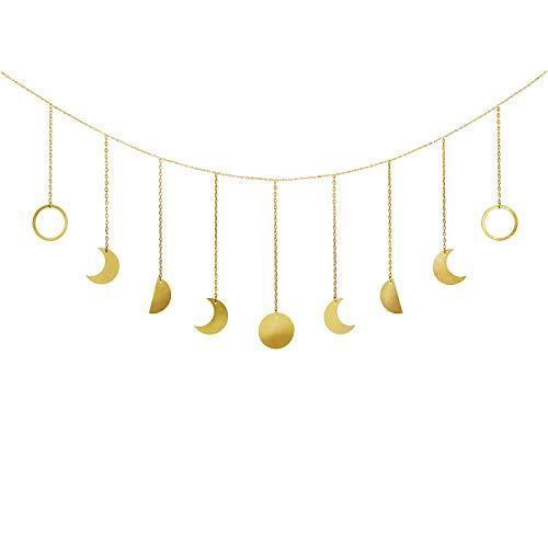 decorazioni natalizie rosa gold Mkouo Ghirlanda di fasi lunari con catene Boho Gold Shhase Phase Ornamenti natalizi da appendere al muro Moon Hang Art Room Decor for Bedroom Living Room Apartment Dorm Nursery Home Office