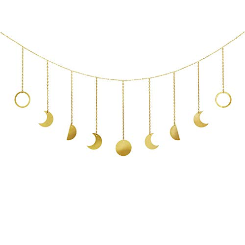 Mkouo Moon Phase Garland with Chains Boho Gold Shining Phase Wall Hanging Ornaments Holiday Moon Hang Art Room Decor for Bedroom Living Room Apartment Dorm Nursery Home Office, Gold