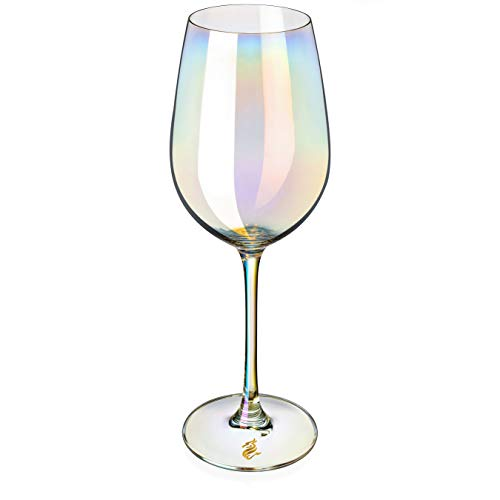 Dragon Glassware Wine Glasses Stemmed Iridescent LeadFree Crystal 175Ounce Set of 2
