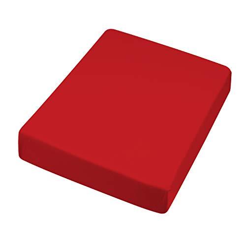 HANSE PRO Spann-Betttuch 180x200 -200x220 cm I Spann-Bettlaken I Laken I für Boxspring-Betten und Wasserbetten I Steghöhe bis 30 cm I Premium-Qualität I Farbe Rot