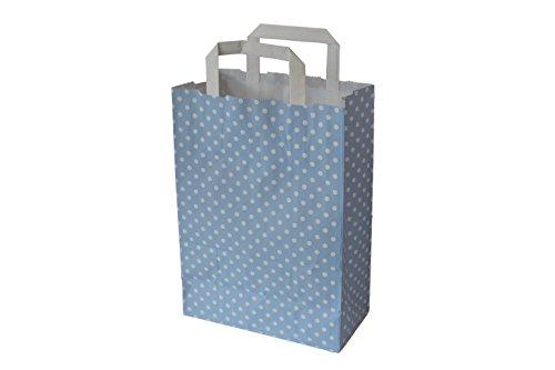 Papiertragetaschen mit Flachhenkel Punkte Aqua - Verschiedene Größen und Mengen (18 + 8 x 22 cm, 50 Stück)
