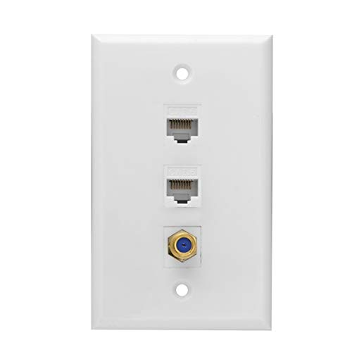 Ethernet Coax Wall Plate, 2 Port Cat 6 RJ45 Keystone and 1 Port TV Coax F Type Keystone Wall Plate (2 x Screws Included)