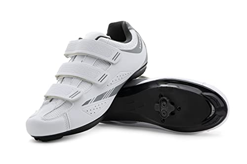 Tommaso Pista Women's Indoor Cycling Ready Cycling Shoe Bundle - White/Silver - SPD - 39