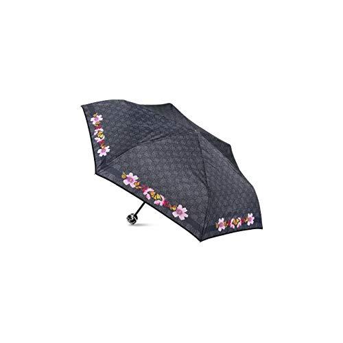 Ombrello Braccialini corto BC850 nero fantasia fiori farfalle manico 3d rosa