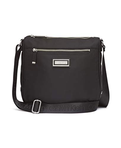 Calvin Klein Belfast Nylon Top Zip Messenger Crossbody, Black/Silver