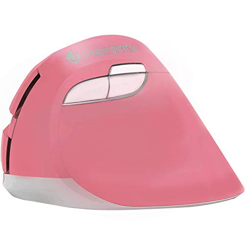 J-Tech Digital Wireless Ergonomic Vertical Mouse for Small Hands with USB Nano Transceiver, AA Battery, 3 DPI, Compatible with Mac and PC, Pink [V628M-2.4GP]