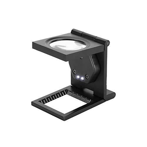 Richer-R 30倍拡大鏡 30X折りたたみ式ポケットルーペポータブルルーペ スタンドルーペ ポケット拡大鏡 LEDライト付き 電話コンピュータ修理/精密作業用