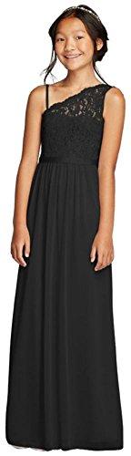 One Shoulder Long Lace Bodice Dress Style JB9014, Black, 6