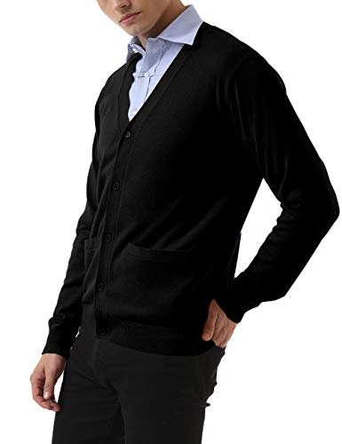 QUALFORT Men's Black Cardigan Sweater V-Neck Casual Button Up 100% Cotton Cardigan Sweater with Pockets Black X-Large