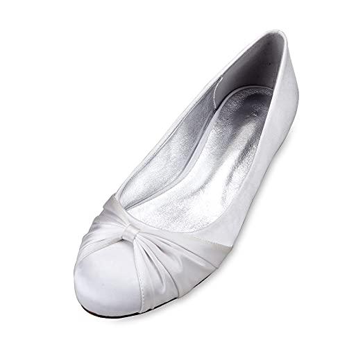 Zapatos de Boda de Novia Plana para Mujer Verano con Punta Cerrada...