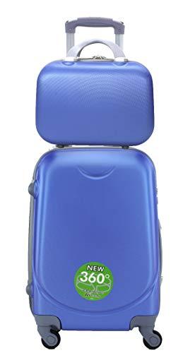 Maleta de Cabina Trolley de Viaje con Neceser a Juego Equipaje de Mano ,aptas para Ryanair Vueling etc (Azul electrico)
