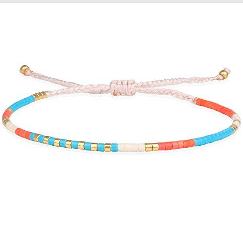 KELITCH New Miyuki Crystal Mixed Strand Bracelet Hand Woven Friendship Bracelets for Teen Girls (Orange)
