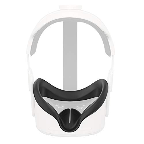 Esimen Oculus quest 2シリコンカバー-VRソフトフェイスシリコンカバー,快適,防汗,防水,汚れ防止,お手入れが簡単 (黒)