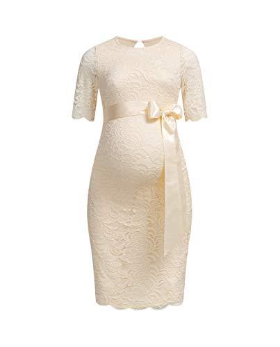 Herzmutter Umstands-Spitzen-Kleid - Elegantes-knielanges-Schwangerschafts-Kleid - für Festliche Anlässe-Hochzeit-Feier - Mit Spitze - Creme-Weiß-Champagner-Blau-Rot-Rosé - 6200 (Champagner, XL)