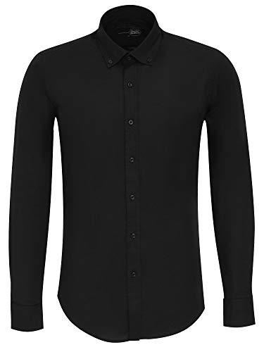 Tazzio Herren Hemd Slim Fit Freizeit Business Langarmhemd 16318 Schwarz 3XL