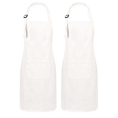 Pknoclan 2 Pack 100% Cotton Cooking Aprons with Pockets, White Kitchen Bib Aprons with Adjustable Neckband, Baking Server Aprons for Men Women Couple Chef Restaurant