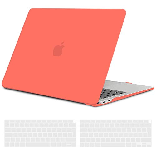 TECOOL MacBook Air 13 inch Case Cover 2020 2019 2018 (Model: A2337/A2179/A1932), Plastic Hard Shell Protective Cover Case and EU Keyboard Cover for Apple MacBook Air 13.3 Touch ID - Coral Orange