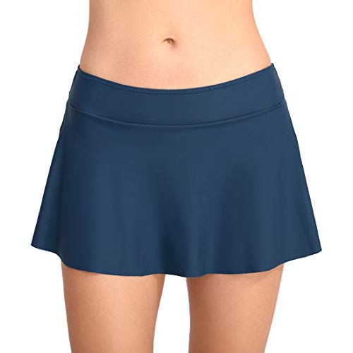 FEOYA Damen Badebekleidung Badeanzug Rock gebaut in Bikini Bottom Baderock Schwimmrock Bikini mit Hotpants Blau S