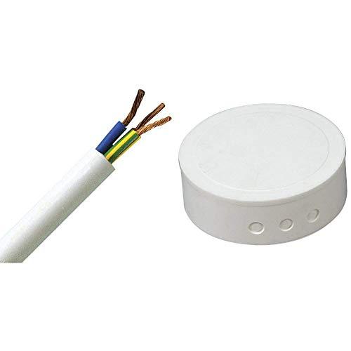 Kopp 151805840 Schlauchleitung H05 VV-F 3G, 1.5 mm², 5 m, weiß & 341817082 Kunststoff-Abzweig-Baldachin, weiß