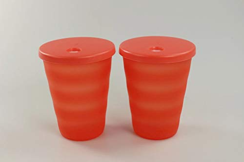 Tupperware Junge Welle Trinkhalmbecher 330 ml orange Becher (2) 36781