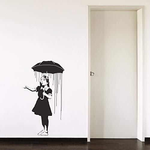 Sanzangtang Paraplu voor meisjes, regen, afneembare vinylsticker, voor woonkamer, slaapkamer, meisjes, kamer, gang, portret, home raamsticker