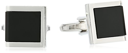 Stacy Adams Men's Square with Jet Acrylic Inlay Open End Cuff Link and Tie Bar Set, Gold/black, One Size