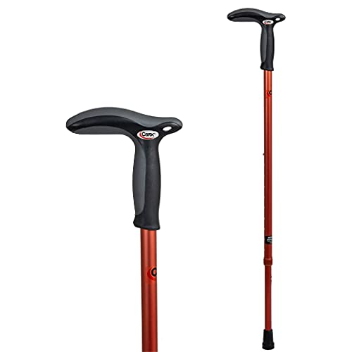 Carex Health Brands Hiking Cane Walking Stick with Dual Grip Handle for Men and Women, Red/Orange