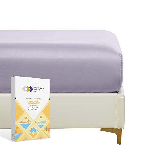 400 Thread Count 100% Cotton Fitted Sheet - Lavender Grey Queen Size 1 Fitted Sheet Only, Long Staple Combed Pure Natural Cotton Sheet, Soft Sateen Weave - Fits Mattress 16' Deep Pocket