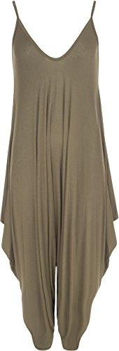 WearAll - Lagenlook Strappy uitgebuld Harem Jumpsuit jurk Top Playsuit Cami - 8 kleuren - maat 28-48