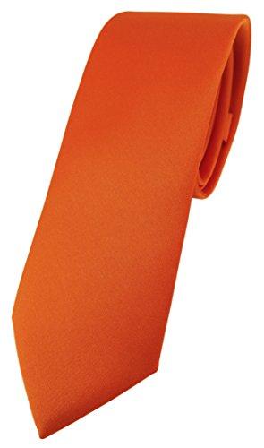 TigerTie Corbata de diseño estrecho en un solo color, ancho de corbata de 5,5 cm. naranja Talla única