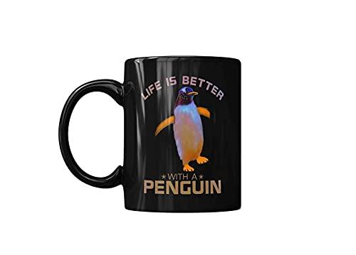 colorida la vida es mejor con un pingüino linda taza de café amante de los animales salvajes, tazas de cerámica para regalo de amigo, negro, impreso en ambos lados, 11 oz, divertidas tazas de café par