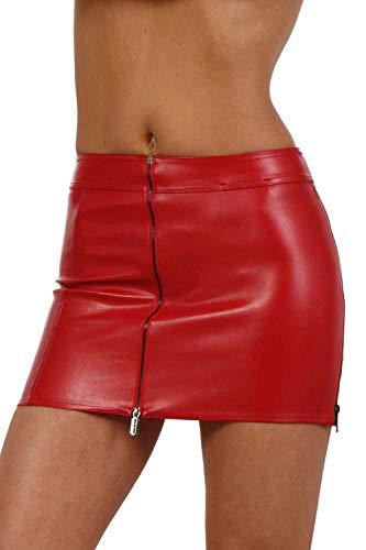 MISS NOIR Sexy Damen Minirock (S-3XL) Lederoptik Clubwear mit 4 Reißverschlüssen Lederlook Rock Gogo Party Clubwear Kurze Röcke (XL, Rot (Red 2085)