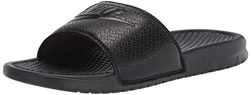 Nike Men's Benassi Just Do It Athletic Sandal, Black/White Noir/Blanc, 12.0 Regular US