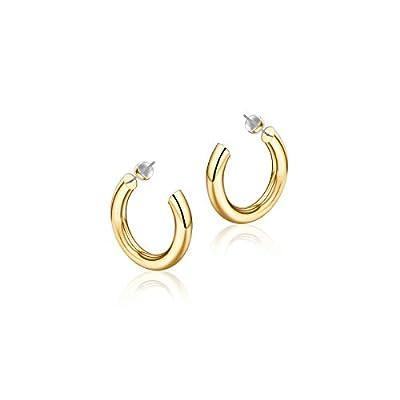 Gold Hoop Earrings for Women, 14K Gold Plated Lightweight Chunky Open Hoops 20mm Gold Hoop Earrings for Women