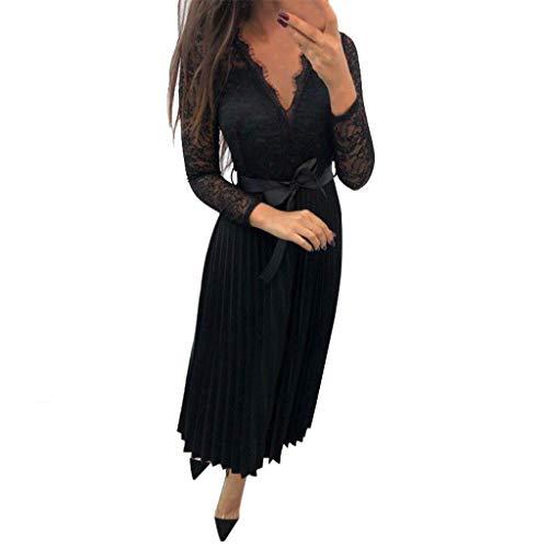 Frauen Spitze langes Kleid einfarbig Langarm sexy v-Ausschnitt hohe Taille schlank Strap Stitching Elegantes Abendkleid langes Kleid Sonojie