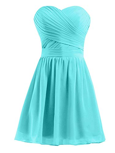 macria Women's Bridesmaid Dresses Short Strapless Sweetheart Chiffon Prom Gowns 16 Tiffany Blue