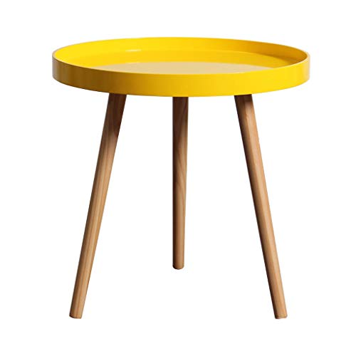 LICHUAN Side Table Nordic Living Room Small Coffee Table Bedroom Bed Small Table Round Mini Bedside Table Simple Solid Wood Modern Creative End Table Easy Assembly (Color : Yellow, Size : 50cm)